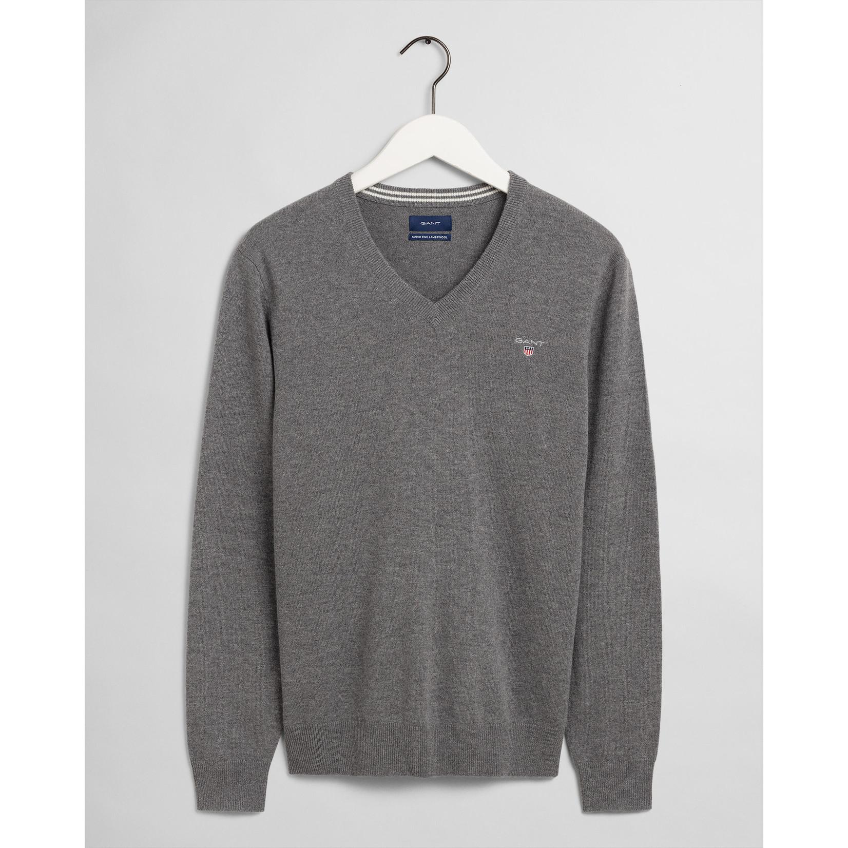 GANT pullover v-hals lamswol antraciet