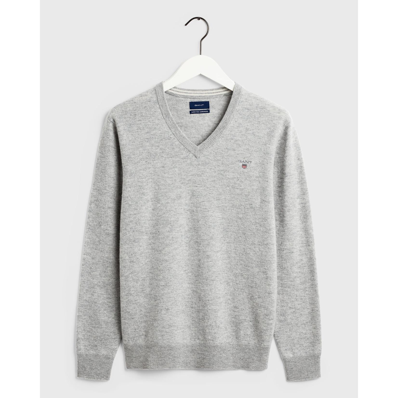 GANT pullover v-hals lamswol lichtgrijs