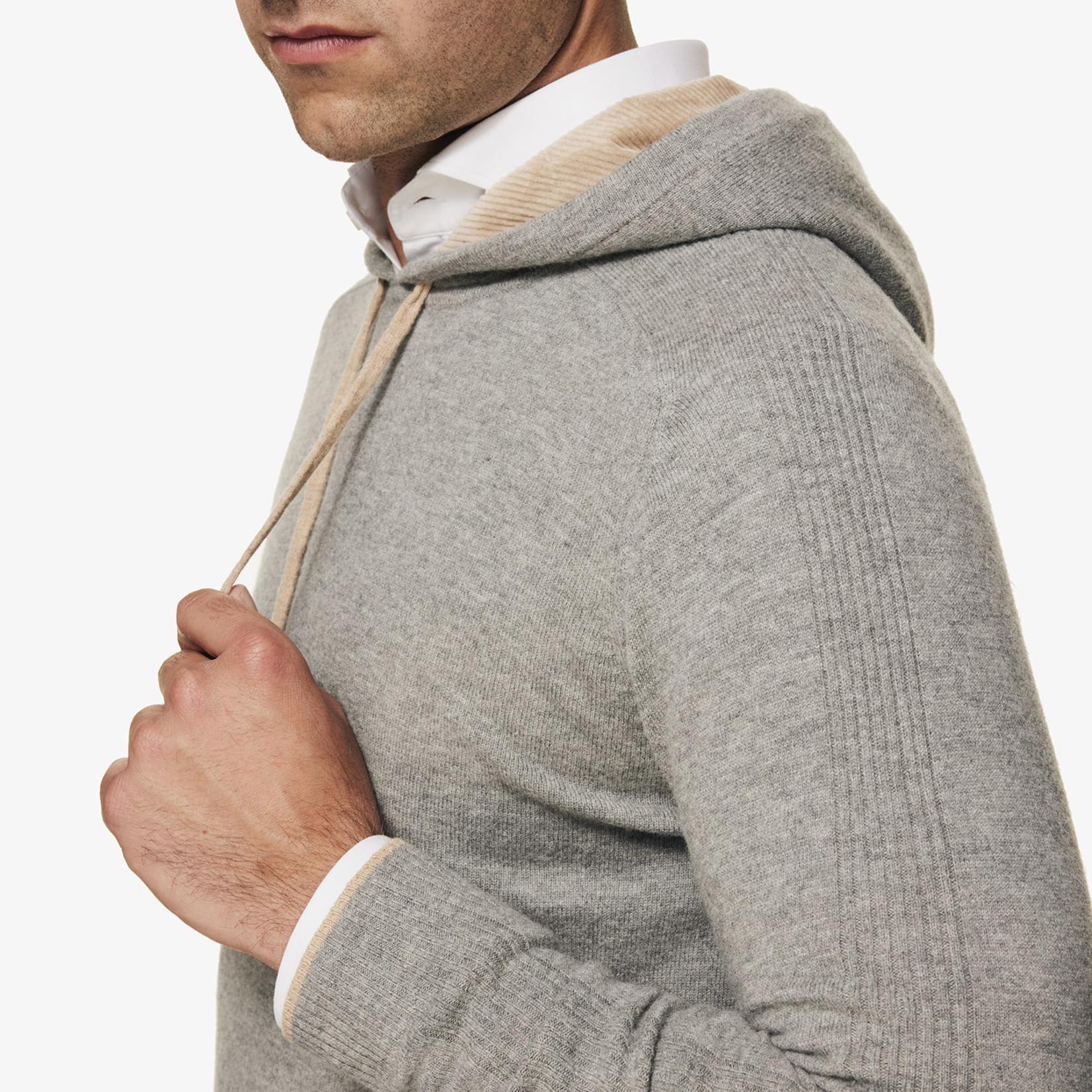 Gentiluomo Gold merino wollen hoodie lichtgrijs