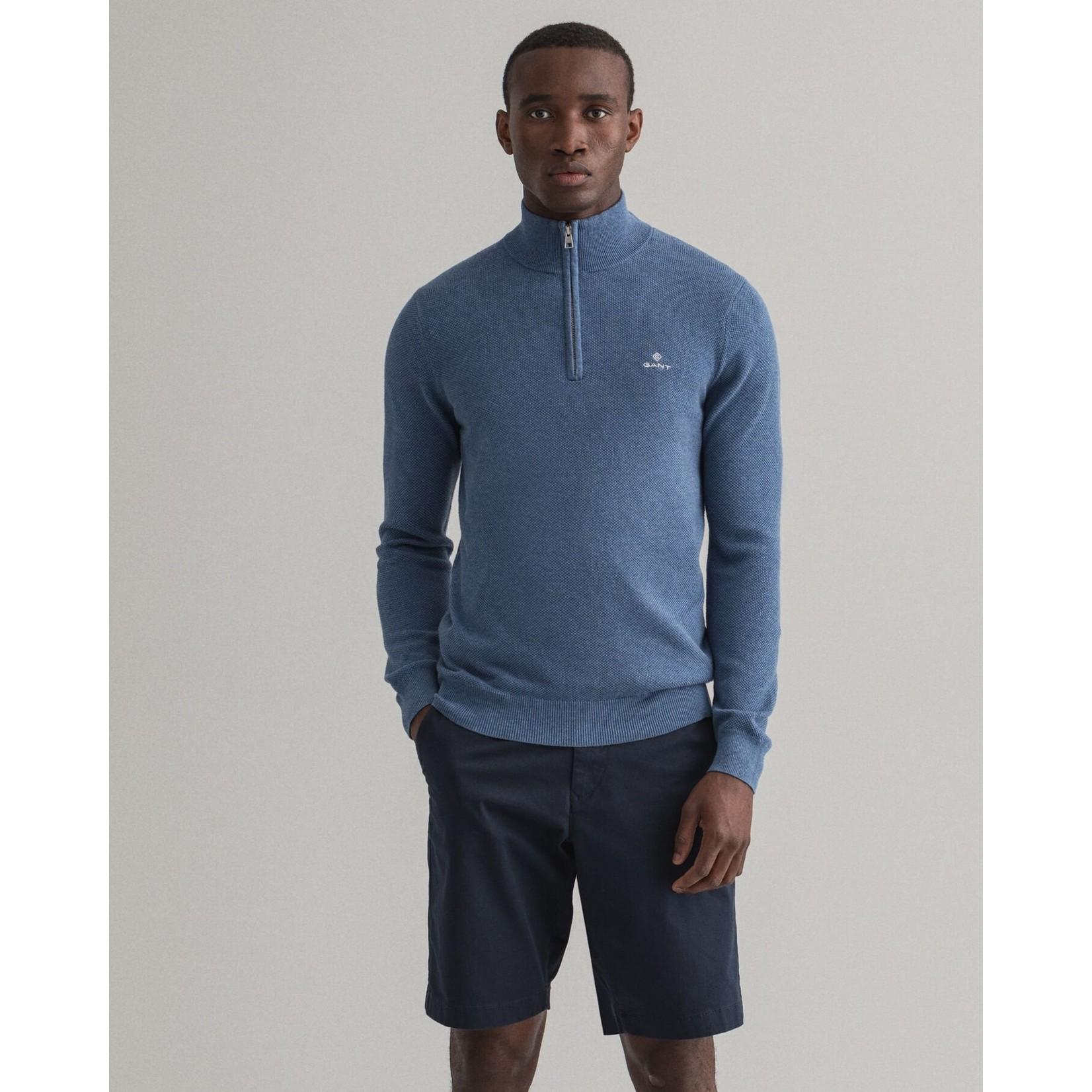 GANT sweater met korte rits denim blauw