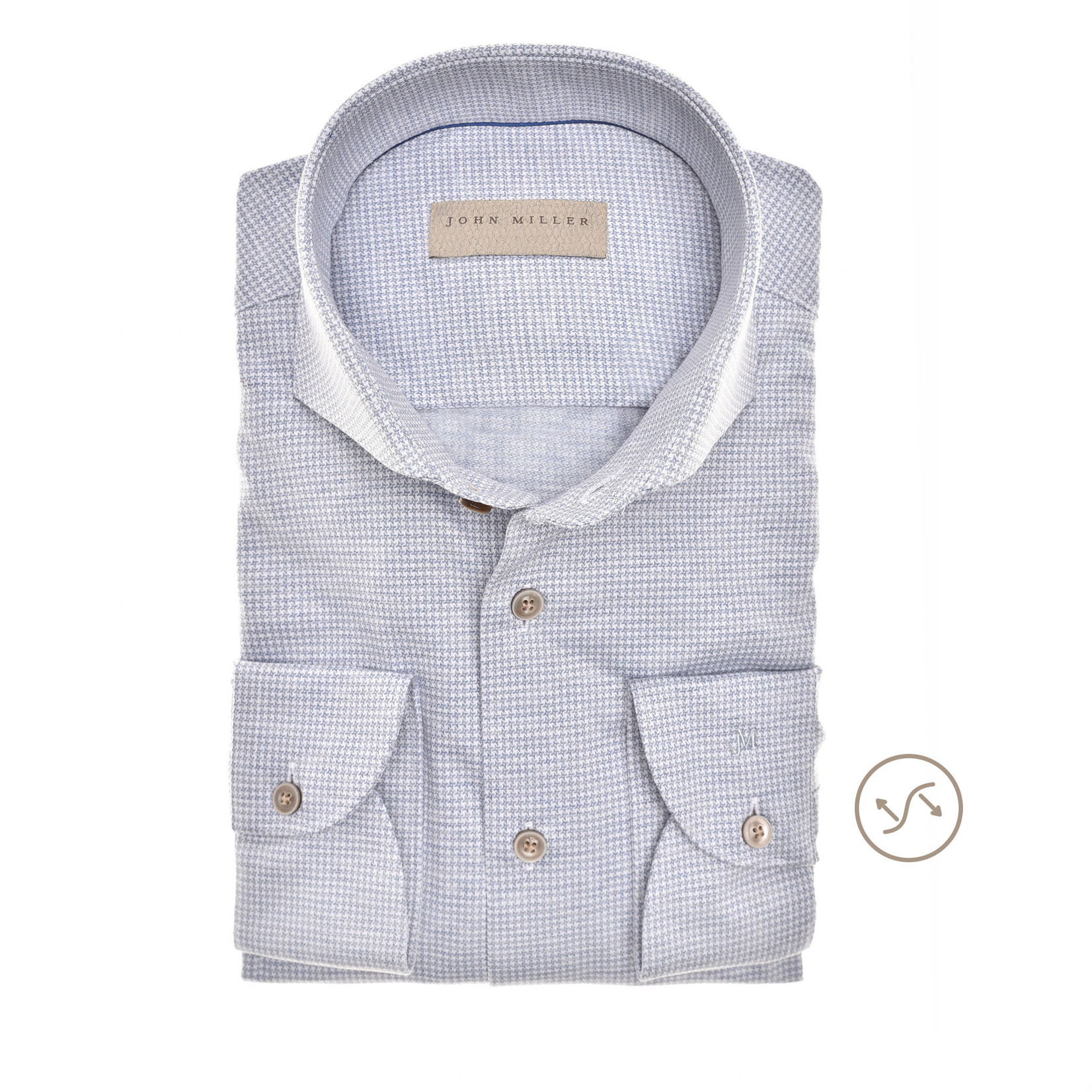 John Miller tailored fit overhemd lichtblauw print
