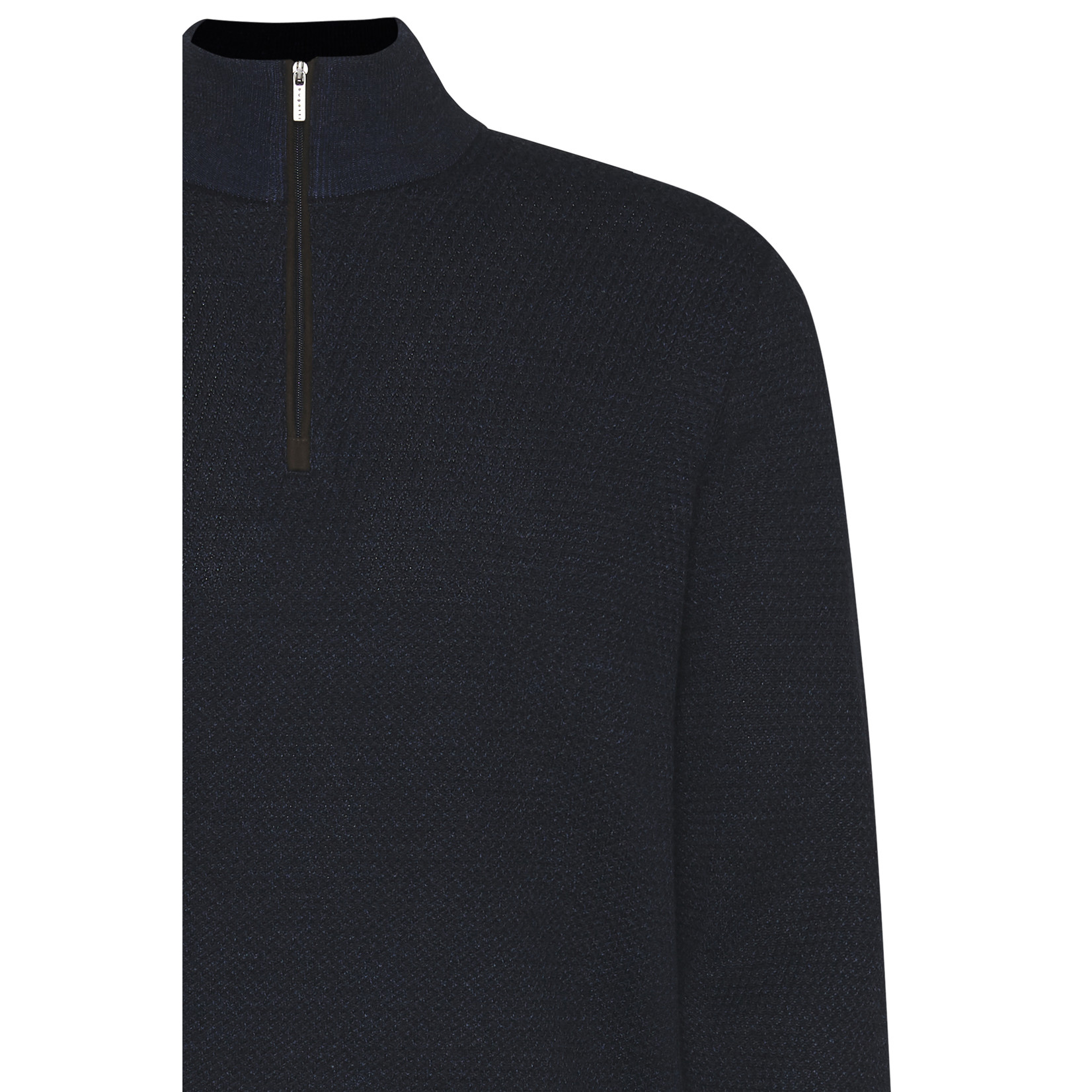 Bugatti trui met korte rits jeansblauw