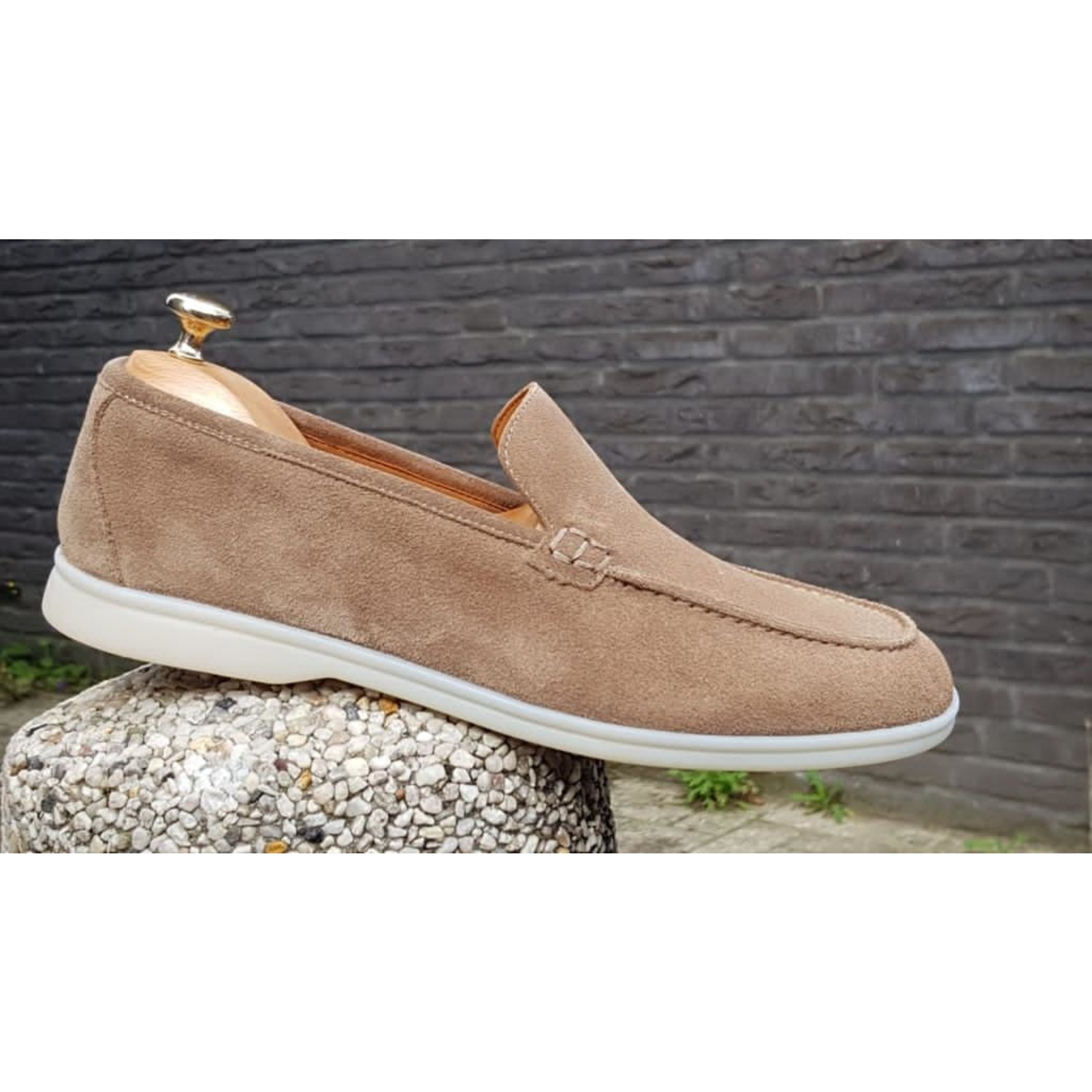 HON low top suede schoenen beige