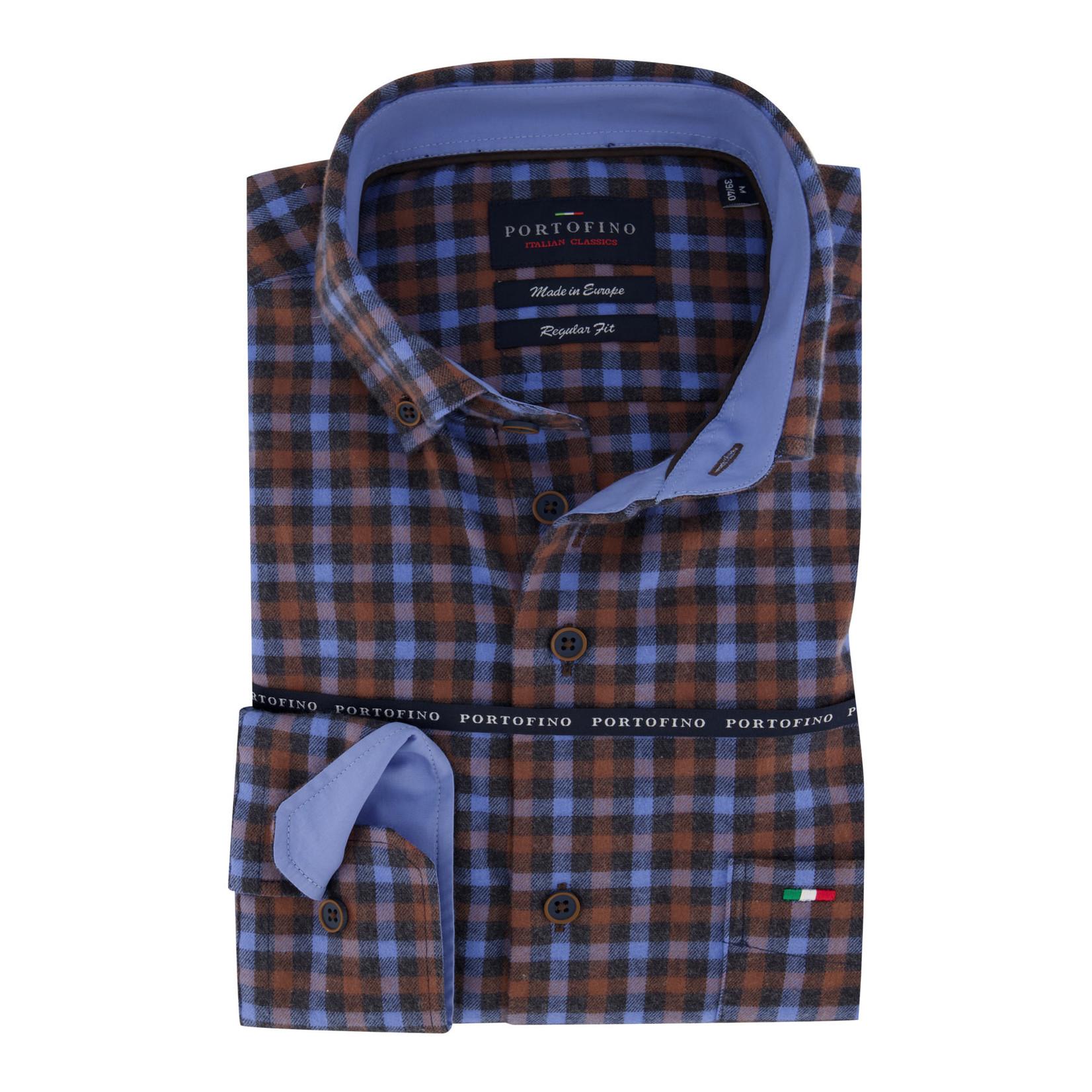 Portofino regular fit overhemd ruit blauwverhemd ruit blauw