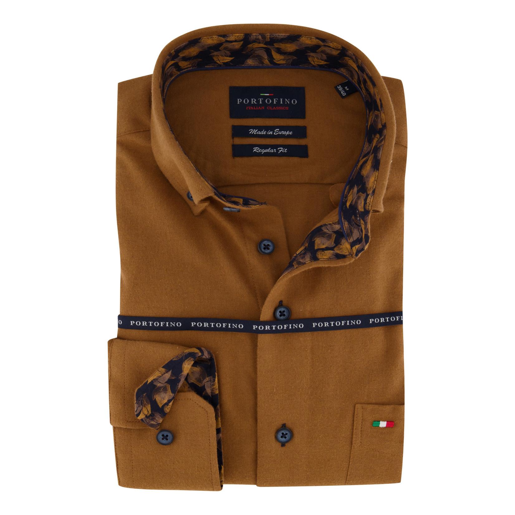 Portofino regular fit overhemd brique