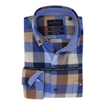 Portofino regular fit overhemd ruit bleu
