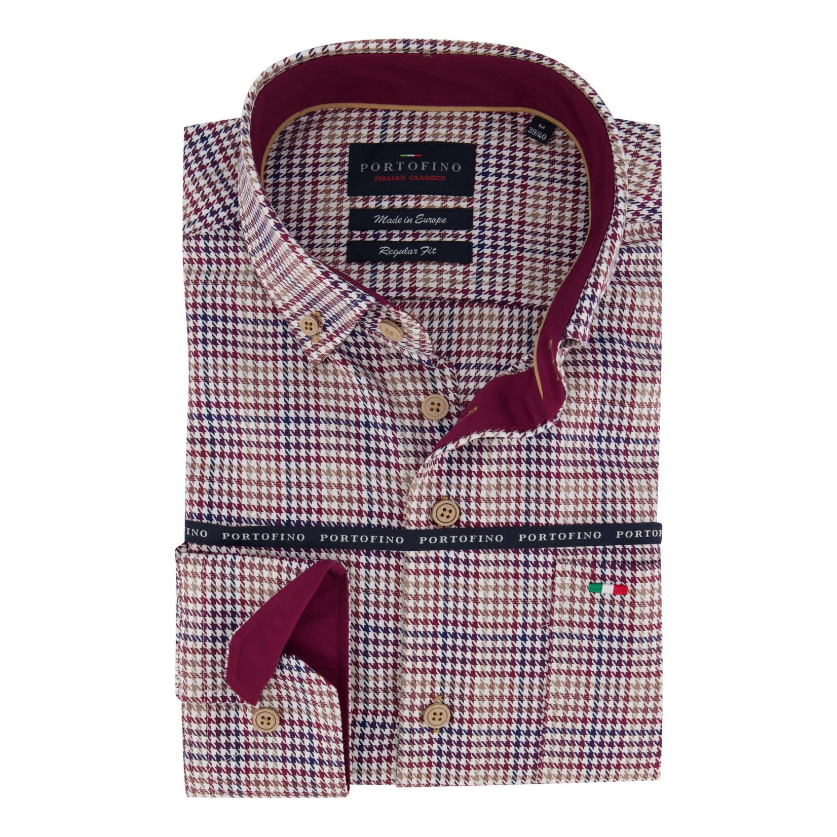 Portofino regular fit overhemd ruit rood