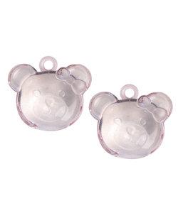 Acryl beer met oogje, roze, 38 mm, doos à 4 st-