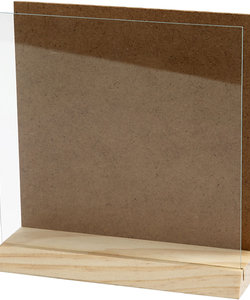 3d plaat met glas, 15x15 cm