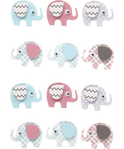 3D stickers Olifant h:25mm d:31mm 12st