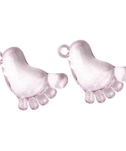Acryl voet met oogje, roze, 38 mm, doos à 6 st-