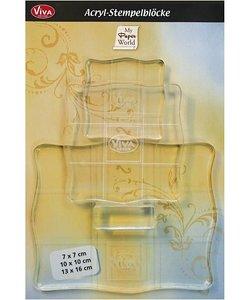 Acrylblokken - ass.ment, grootste maat 13x16 cm, 3 ass.