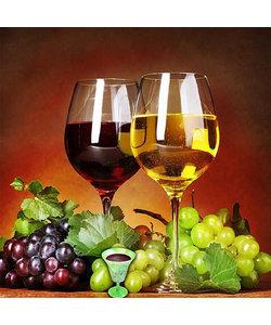 Diamond Painting 40x40cm. Wijn in glazen en druive