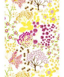 Vel Decopatch papier Flora en Fauna wit / geel / fuchsia