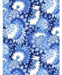 Vel Decopatch papier blauw wit pauw