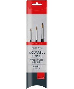 Ami Aquarel penselenset A25  marterhaar 3 st.
