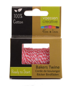 Bakers Twine touw 45m Rood-wit