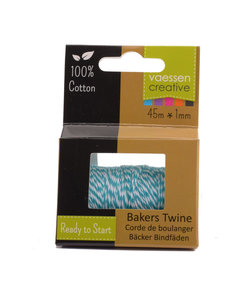 Bakers Twine touw 45m Turquoise-wit