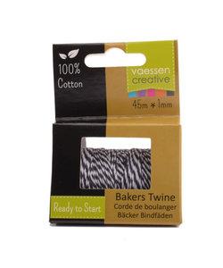 Bakers Twine touw 45m Zwart-wit