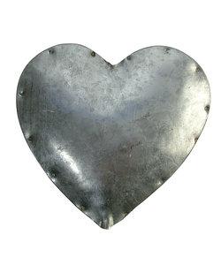 Blikken hart, gebogen, 11 cm, met gat