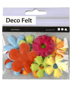 Bloemen van vilt diverse maten dikte 1,2 mm 16 st