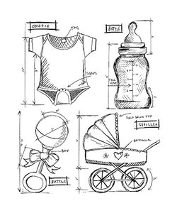 Tim Holtz Cling Stamp Blueprint Baby