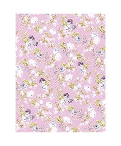 Vel Decopatch papier lichtblauw/roze rozen