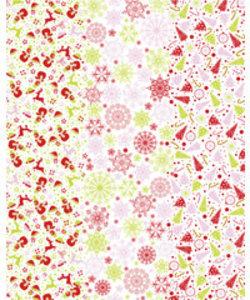 Vel Decopatch papier wit/rood/rose Kerst
