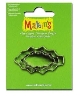 Makin's Clay Uitsteekvorm Set Hulstblad 2-4cm 3st
