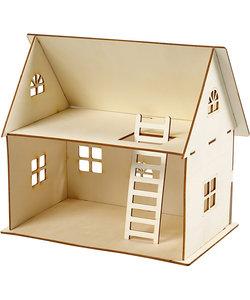 DIY poppenhuis hout 25 cm., 18x27 cm.