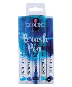 Talens Ecoline Brushpen Set Blue 5st
