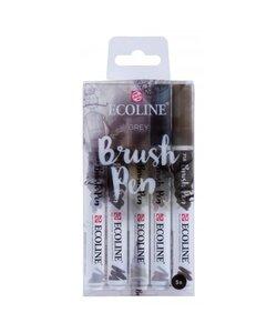 Talens Ecoline Brushpen Set 5st Grey