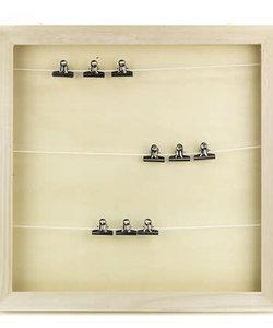 Houten Fotolijst kistje vierkant lijnen/clip 38.1cm x 3.5cm