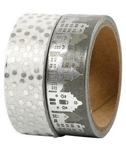 Washi Tape Huizen & Stippen Zilver 1,5cm 4m