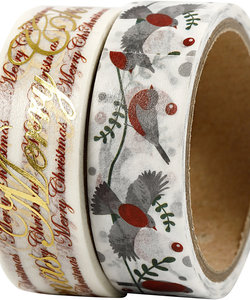 Washi Tape Merry Christmas & Vogels 1,5cm 4m