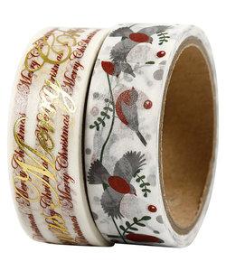 Washi Tape Merry Christmas & Vogels 1,5cm 4m