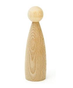 Houten Pop peg doll  naturel d:35mm h:120mm