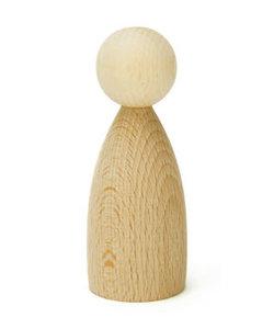 Houten Pop peg doll  naturel d:38mm h:100mm