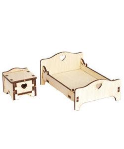 Houten 3D Poppenhuis Miniaturen Bed 5,4x8,5x11,3cm