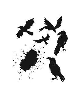 Tim Holtz Cling Stamp Ravens