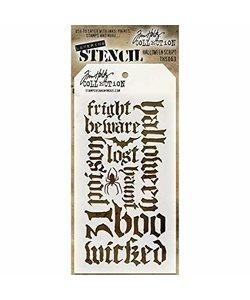 """Tim Holtz Layered Stencil 4.125 """"X8.5"""" Halloween script"""