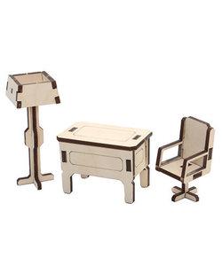 Houten 3D Poppenhuis Miniaturen Kantoor 4,5x5x7,5cm