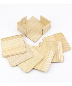 Houten Onderzetter 6-set vierkant