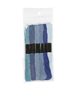Borduurgaren dikte 1 mm Blauw harmonie 6 strengen