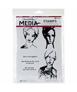 Dina Wakley Rbbr stamp Scribbly Women