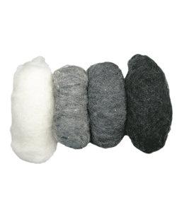 Zuivere scheerwol, 4x25 gr. ass.grijs tinten