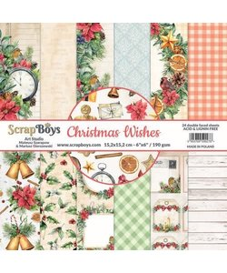 ScrapBoys  Paperpad 15,2 x 15,2 cm Christmas Wishes  24 double faced sheets