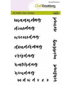 Craftemotions Clear Stamp Bullet Journal Dagen Tekst Nederlands