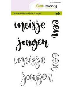 Craftemotions Clear Stamp Handletter Meisje Jongen