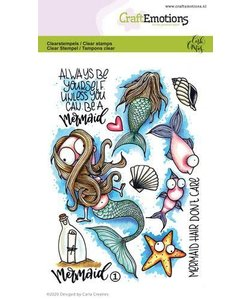CraftEmotions clearstamp Mermaid 1 Carla Creaties